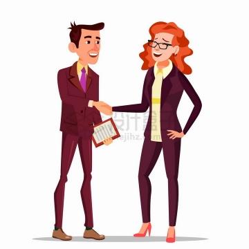 握手的商务人士商谈合作事宜扁平插画png图片免抠矢量素材