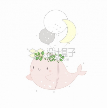拿着气球的卡通小鲸鱼童话故事儿童插画png图片免抠矢量素材
