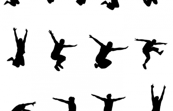 13款跳舞街舞人物剪影图片免抠素材