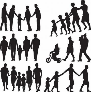 一家人一起散步郊游旅游剪影png图片免抠矢量素材