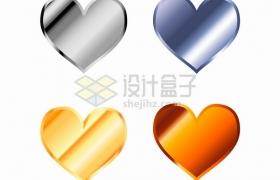 金属光泽银色金色心形符号图案png图片素材