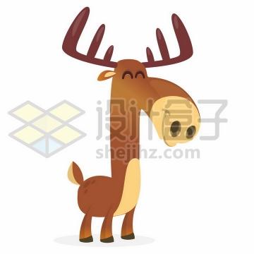 微笑的卡通麋鹿png图片免抠矢量素材