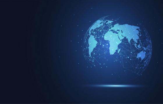 唯美创意科幻风格蓝色点线组成的地球背景图图片免抠矢量图