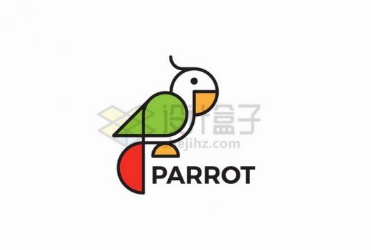 简约线条鹦鹉logo设计方案png图片免抠矢量素材