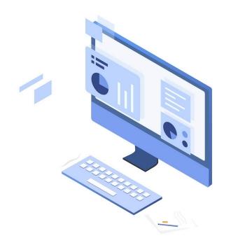 2.5D立体插画风格台式电脑显示器鼠标键盘商务展示图片免抠素材