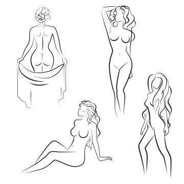 4款手绘线条裸体美女图片免抠素材