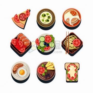 9款卡通披萨香肠煎蛋西红柿面条等美味美食png图片免抠矢量素材