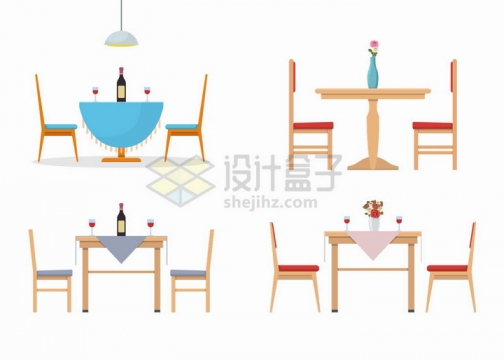 4款餐桌厨房家具侧面图png图片免抠矢量素材