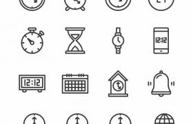 16款黑色线条时钟时间图标png图片免抠矢量素材