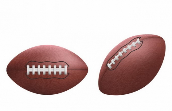 2个不同角度的逼真橄榄球美式足球png图片免抠矢量素材