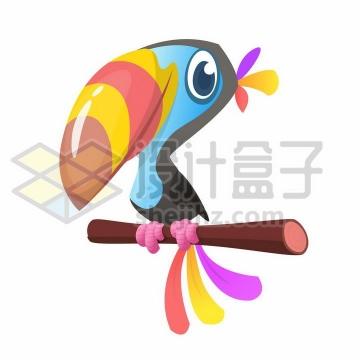站在枝头的卡通巨嘴鸟png图片免抠矢量素材