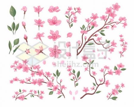 各种枝头上的粉色桃花和花瓣572319png图片素材