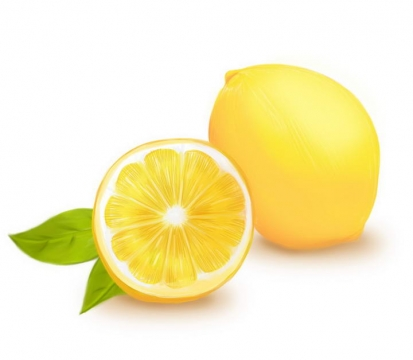 手绘唯美风格切开的黄色柠檬水果图片免抠素材