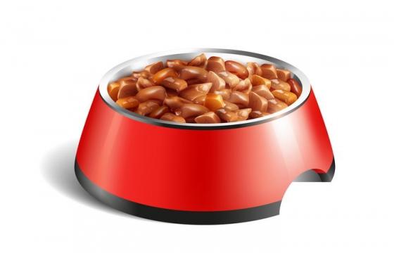 红色猫食盆中的猫粮宠物食物图片免抠矢量素材