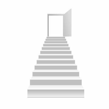 白色的楼梯阶梯和打开的门png图片免抠矢量素材