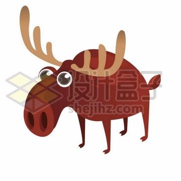 瞪眼的卡通驯鹿png图片免抠矢量素材