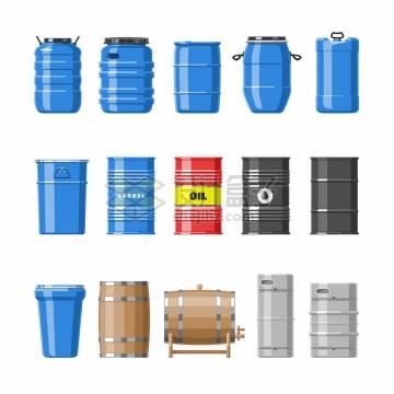 15款塑料桶化工桶石油铁皮桶木制酒桶等各种桶子png图片免抠矢量素材