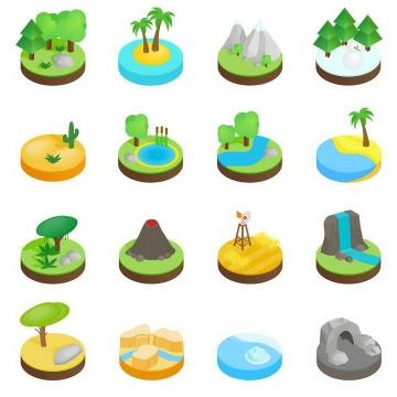16款2.5D效果圆形平台上的森林海岛火山高山等各种自然景观图片免扣素材