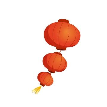 一串三个大红灯笼节日装饰图片免抠素材