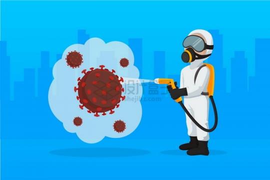 卡通医护人员全副武装杀灭新型冠状病毒png图片免抠矢量素材