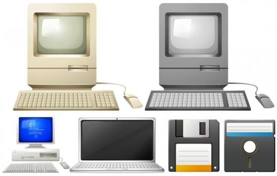 复古风格的电脑和软盘IT技术图片免抠素材