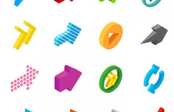 16款各种不同风格的2.5D效果立体箭头图标图片免扣素材