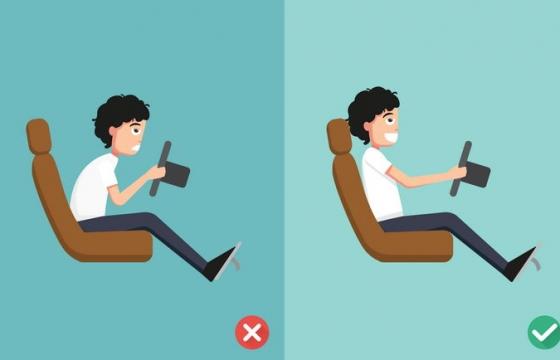 错误和正确驾驶姿势对比图图片免抠素材