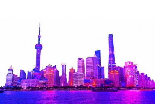 紫红色上海城市天际线高楼大厦夜景687426png图片素材