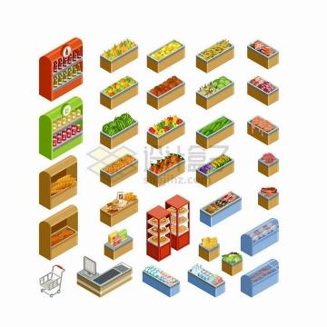 2.5D风格超市货架收银台小推车冷藏柜等png图片免抠矢量素材