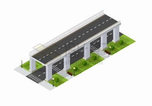 2.5D风格卡通立交桥公路道路png图片素材