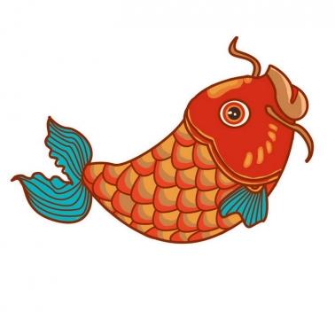 手绘风格传统中国风锦鲤红色鲤鱼图案图片免扣素材