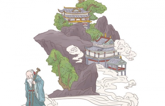 徐福求仙中国传统神话人物传说故事手绘彩色插图图片免抠png素材