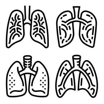 四款手绘黑色线条风格人体器官肺部图片免抠素材