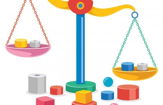 彩色天平秤砝码物理实验用品图片免抠矢量图