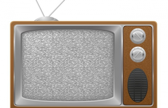 复古风格带天线的电视机免抠矢量图片素材