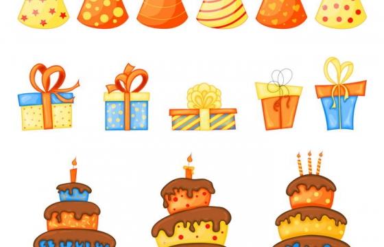 各种卡通生日帽子生日礼物生日蛋糕图片免抠素材