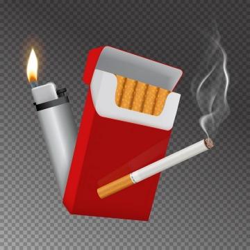 一包香烟和点燃的打火机以及冒烟的香烟禁烟图片免抠矢量素材