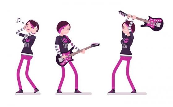 3款愤怒情绪的弹吉他的卡通女孩图片免抠矢量素材