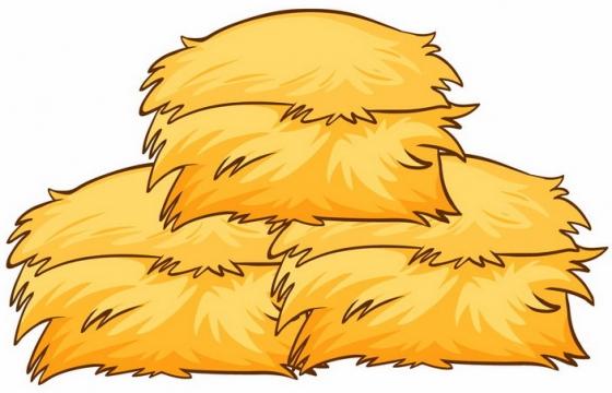 橙黄色的卡通草垛草堆png图片免抠矢量素材