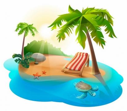 阳光小岛椰树蓝色海水和海龟热带海岛旅游png图片免抠矢量素材