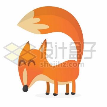 长长尾巴的卡通红狐狸png图片免抠矢量素材