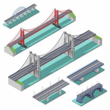 6款2.5D风格的桥梁大桥斜拉桥png图片免抠矢量素材