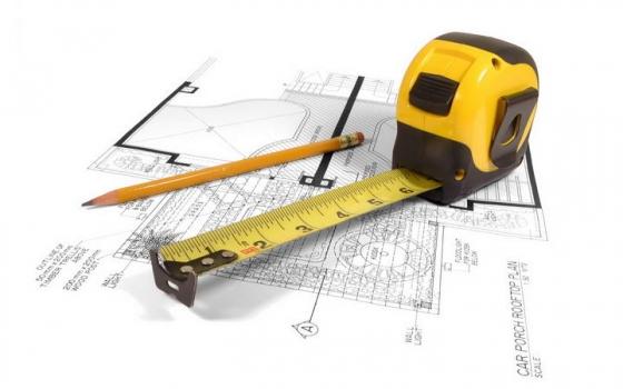 放在建筑图纸上的铅笔和卷尺建筑行业图片png免抠素材