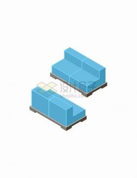 2.5D风格蓝色卡通沙发的正反面家具png图片免抠矢量素材