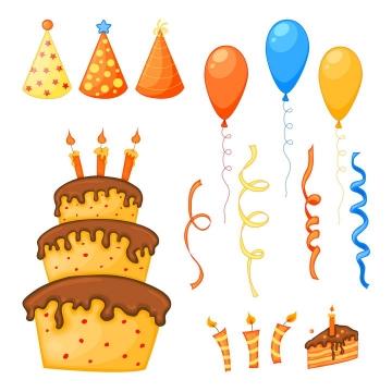 各种卡通生日帽子生日蛋糕生日气球生日蜡烛图片免抠素材