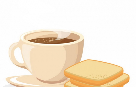 扁平化风格冒着热气的咖啡杯和面包片西餐美食png图片免抠矢量素材