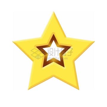 空心黄色立体五角星图案png图片免抠素材