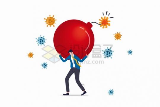 新型冠状病毒疫情下商务人士背着红色炸弹象征了工作生活财务压力png图片素材