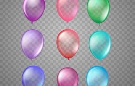 9款彩色半透明气球图片免抠素材