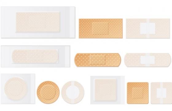 各种形状的创口贴医疗用品图片免抠矢量素材